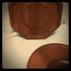 Corner wood shelf wood plate collection